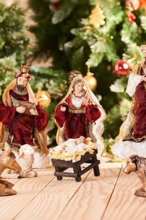 "Vintage Collection Life Like Nativity Set - 12"" (Red & Gold)"