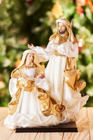 Vintage Collection 3pcs Nativity(Holy Family - White & Gold)