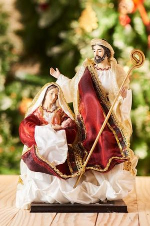"Vintage Collection 3pcs Nativity - 11.5""(Holy Family - Red & White)"