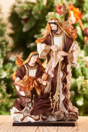 "Vintage Collection 3pcs Nativity - 14""(Holy Family- Brown& Gold Very Large)"