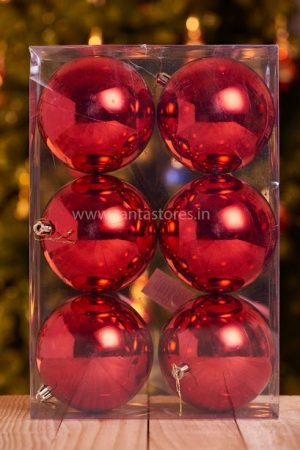 Christmas Red Ball Collection ( Medium) - Pack Of 6