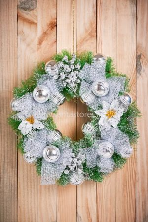 """Large Silver wreath - 18"""""""
