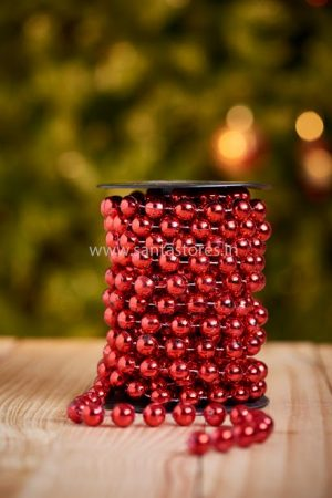Metallic Red Beaded Tree Chain Large