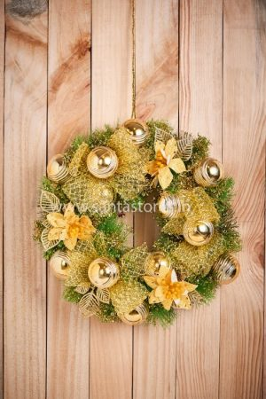 Metallic gold wreath medium