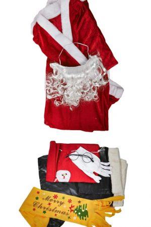 Santa Claus Dress Full Set Premium - Free Size.