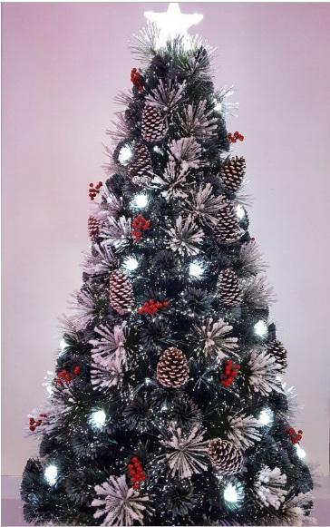 Fiber Optic Christmas Trees.6 Ft Snowy Led Fibre Optic Christmas Tree